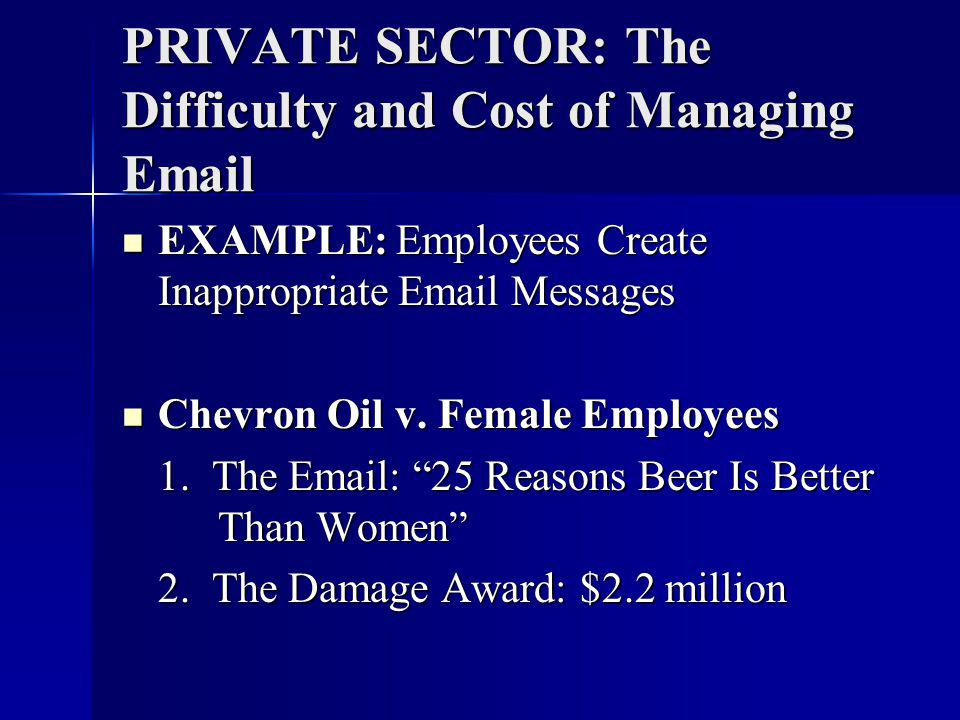 PRIVATE SECTOR: The Difficulty and Cost of Managing Email EXAMPLE: Employees Create Inappropriate Email Messages EXAMPLE: Employees Create Inappropriate Email Messages Chevron Oil v.