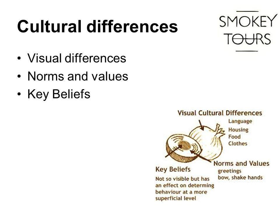 Cultural differences Visual differences Norms and values Key Beliefs