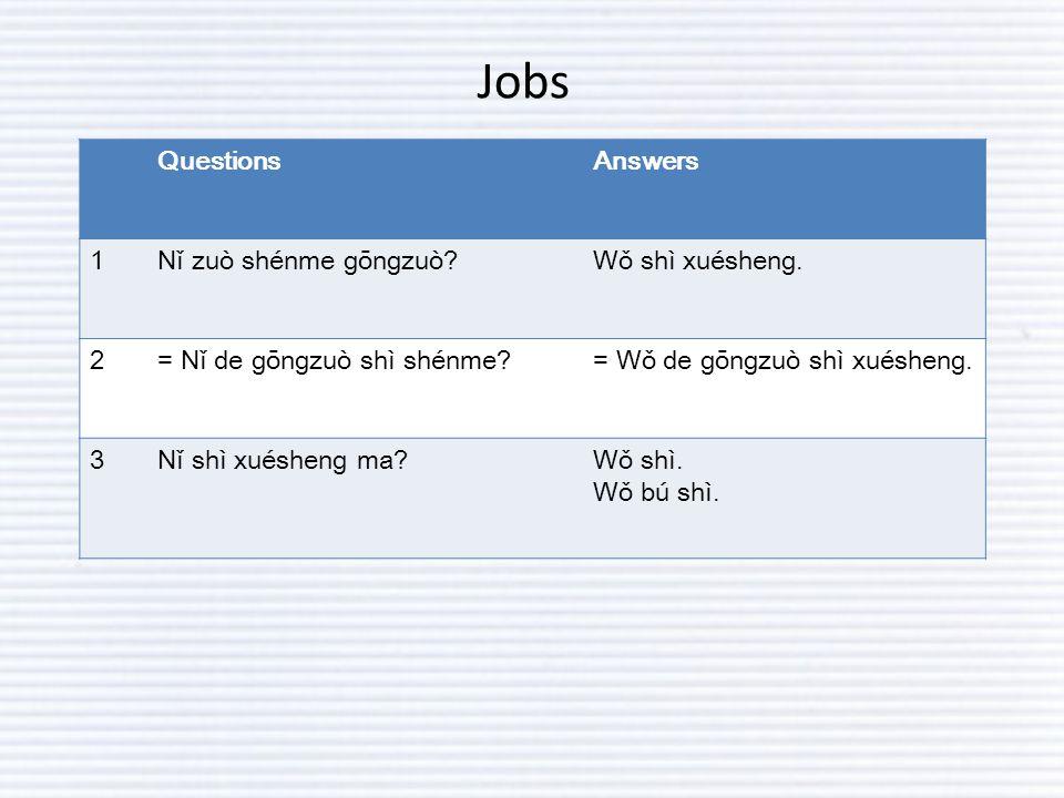 Jobs QuestionsAnswers 1Nǐ zuò shénme gōngzuò?Wǒ shì xuésheng.