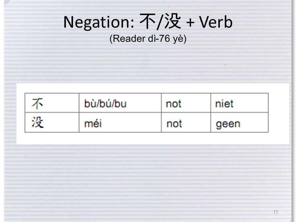 Negation: 不 / 没 + Verb (Reader dì-76 yè) 11