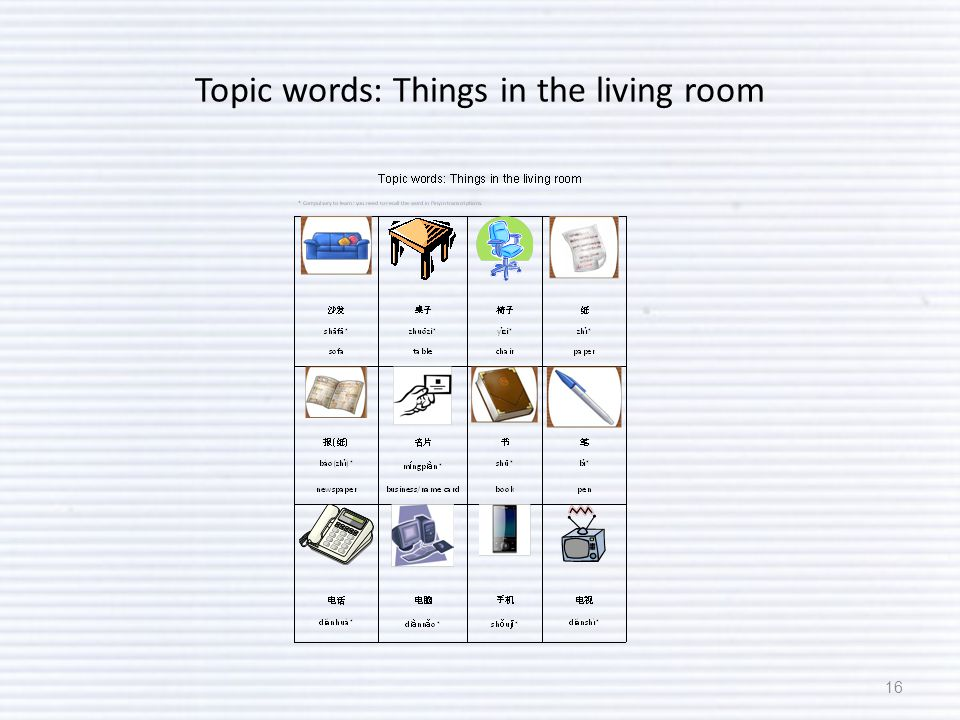 Topic words: Things in the living room 16