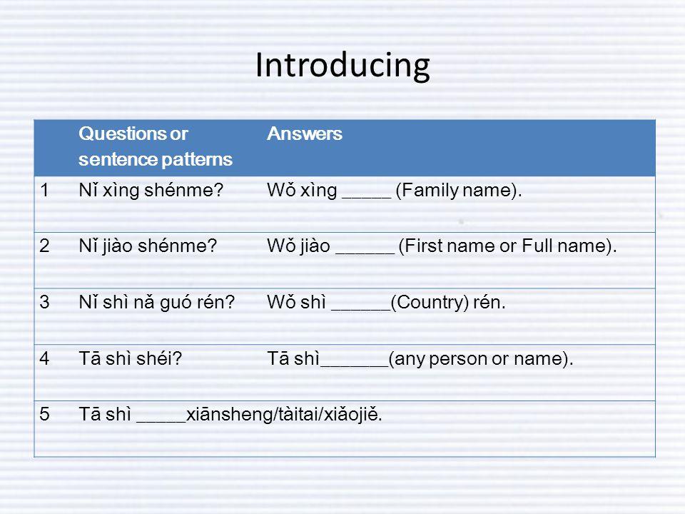 Introducing Questions or sentence patterns Answers 1Nǐ xìng shénme?Wǒ xìng _____ (Family name).