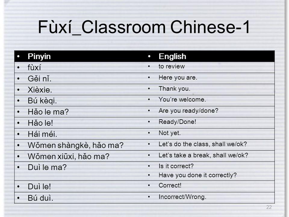 Fùxí_Classroom Chinese-1 Pinyin English fùxí to review Gěi nǐ.
