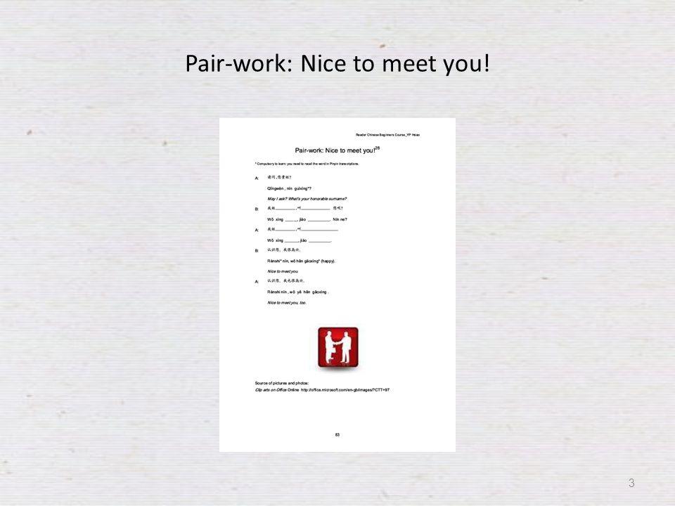 Pair-work: Nice to meet you! 3