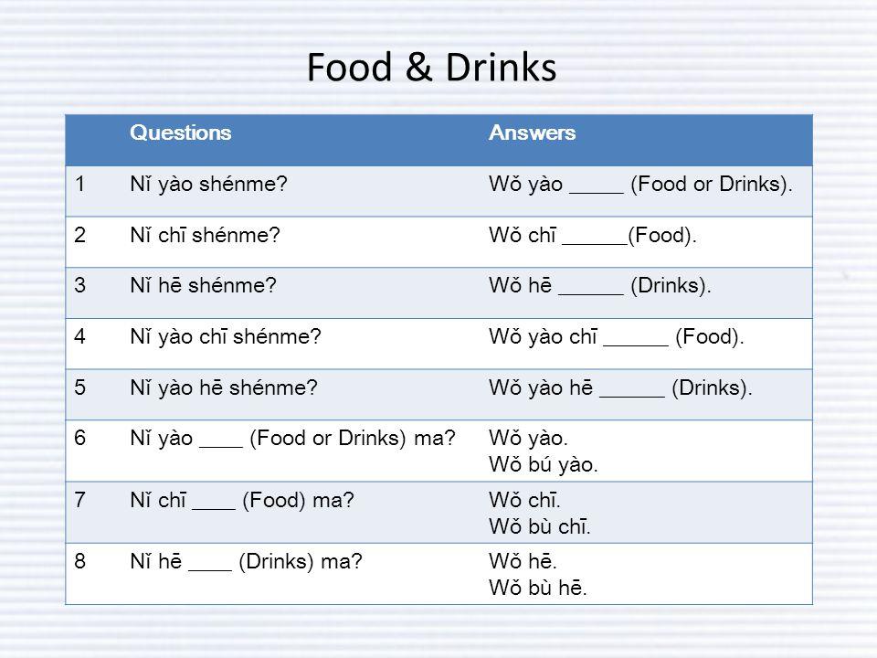 Food & Drinks QuestionsAnswers 1Nǐ yào shénme Wǒ yào _____ (Food or Drinks).