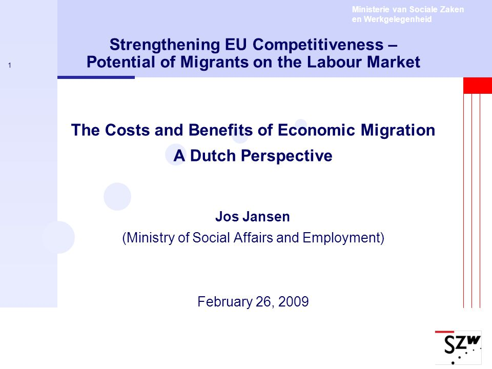 Ministerie van Sociale Zaken en Werkgelegenheid 1 Strengthening EU Competitiveness – Potential of Migrants on the Labour Market The Costs and Benefits
