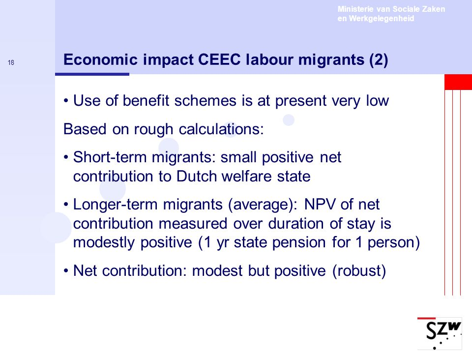 Ministerie van Sociale Zaken en Werkgelegenheid 18 Economic impact CEEC labour migrants (2) Use of benefit schemes is at present very low Based on rou