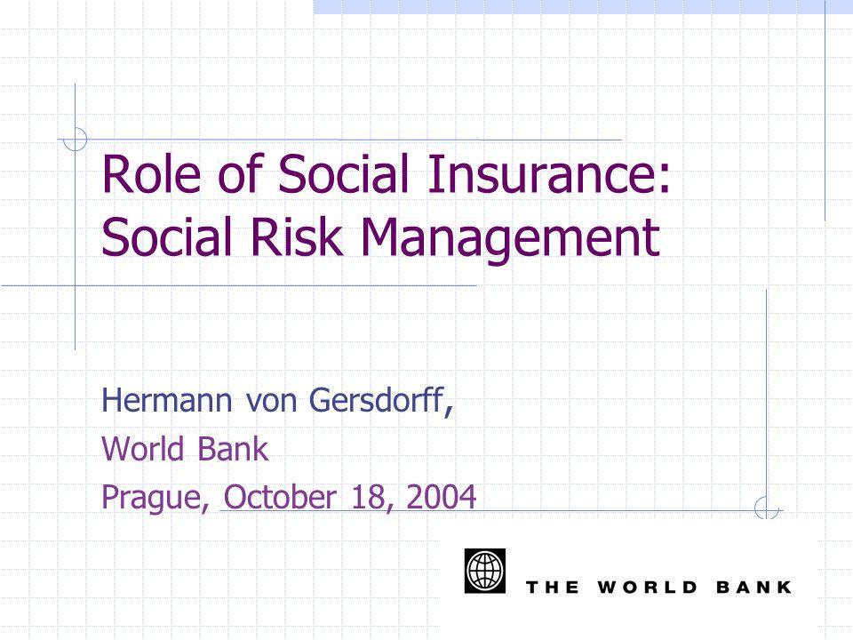Role of Social Insurance: Social Risk Management Hermann von Gersdorff, World Bank Prague, October 18, 2004