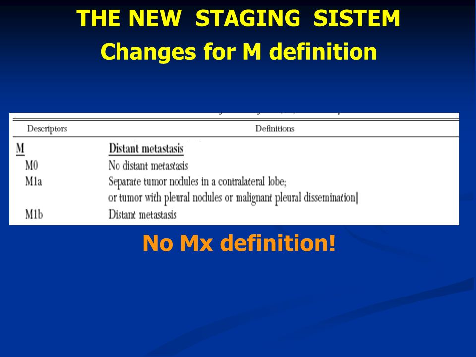 THE NEW STAGING SISTEM Changes for M definition No Mx definition!