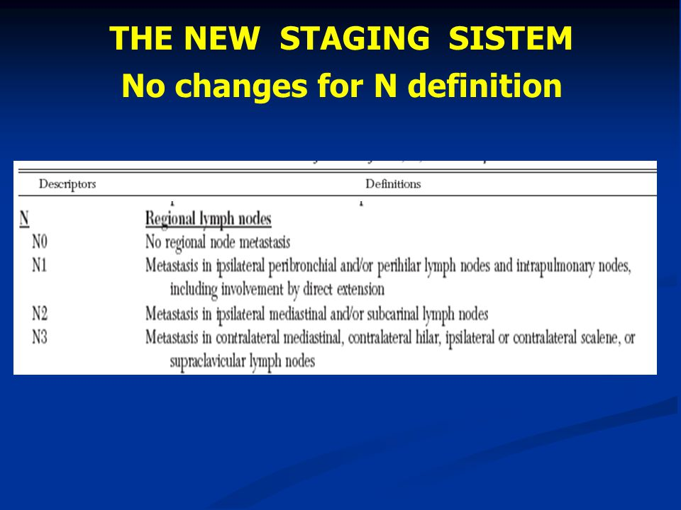 THE NEW STAGING SISTEM No changes for N definition