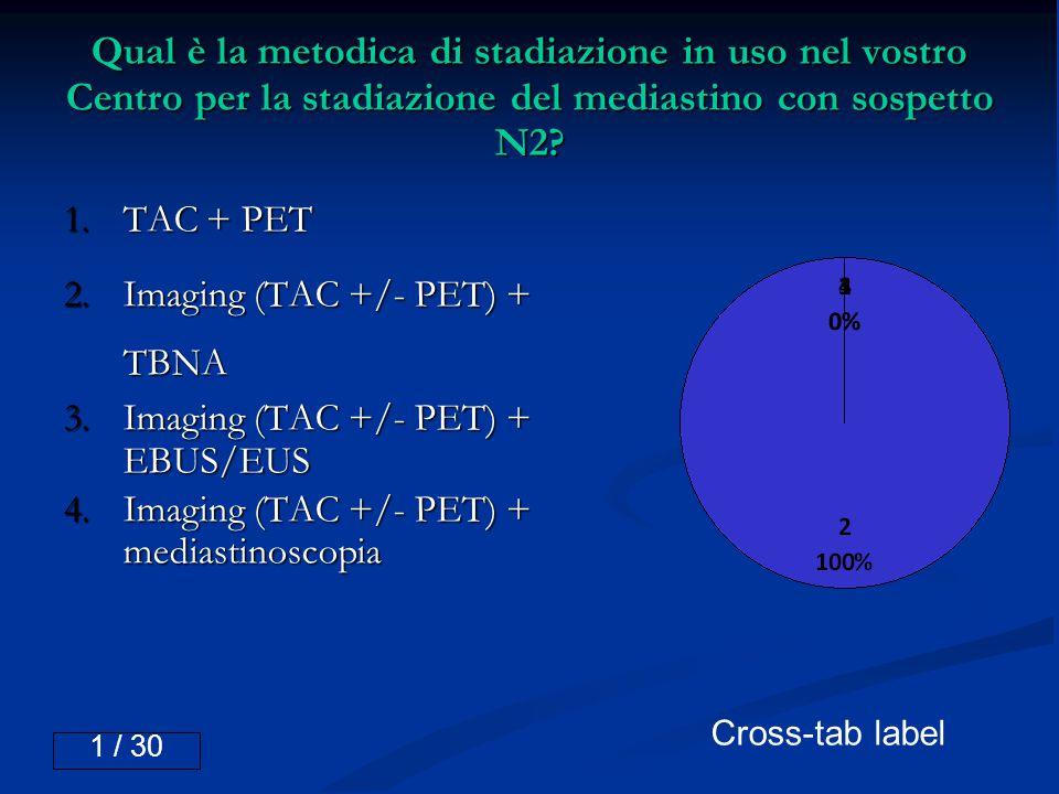 Qual è la metodica di stadiazione in uso nel vostro Centro per la stadiazione del mediastino con sospetto N2? 1.TAC + PET 2.Imaging (TAC +/- PET) + TB