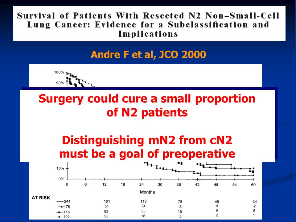 Andre F et al, JCO 2000 Surgery could cure a small proportion of N2 patients Distinguishing mN2 from cN2 must be a goal of preoperative Surgery could