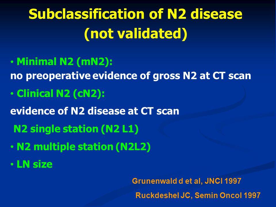 Minimal N2 (mN2): no preoperative evidence of gross N2 at CT scan Clinical N2 (cN2): evidence of N2 disease at CT scan N2 single station (N2 L1) N2 mu