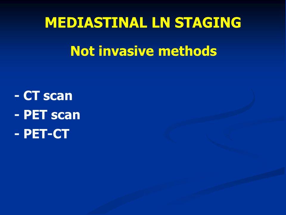 Not invasive methods - CT scan - PET scan - PET-CT MEDIASTINAL LN STAGING