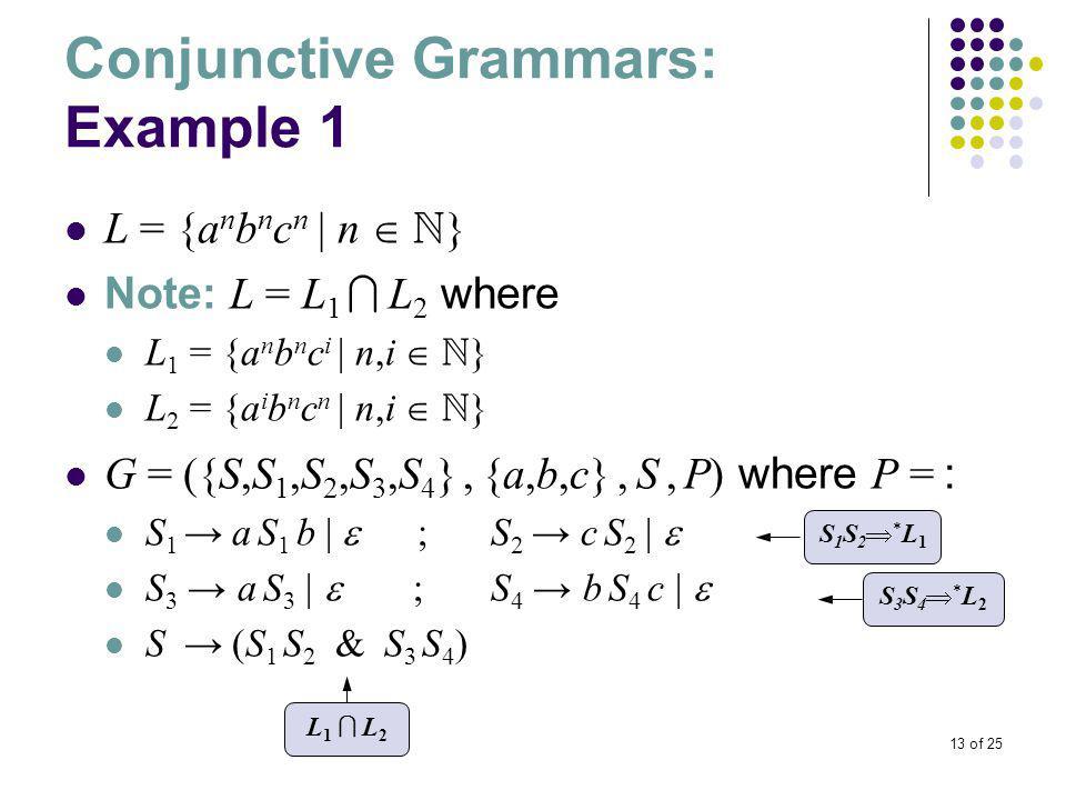 13 of 25 Conjunctive Grammars: Example 1 L = {a n b n c n | n   } Note: L = L 1  L 2 where L 1 = {a n b n c i | n,i   } L 2 = {a i b n c n | n,i