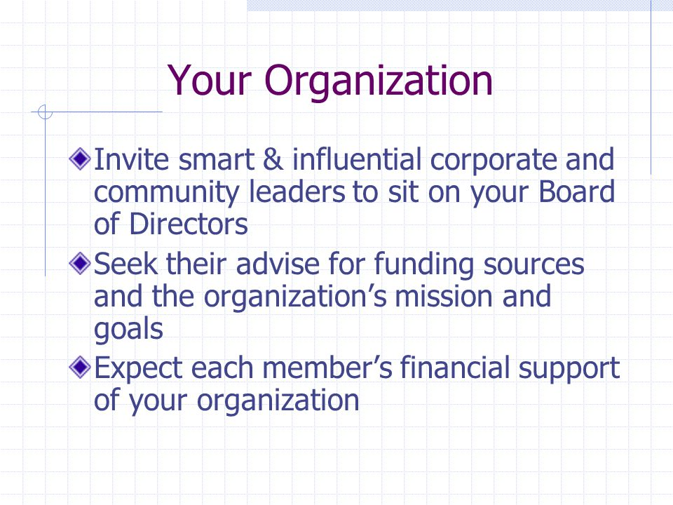 Your Organization Invite smart & influential corporate and community leaders to sit on your Board of Directors Seek their advise for funding sources and the organization's mission and goals Expect each member's financial support of your organization
