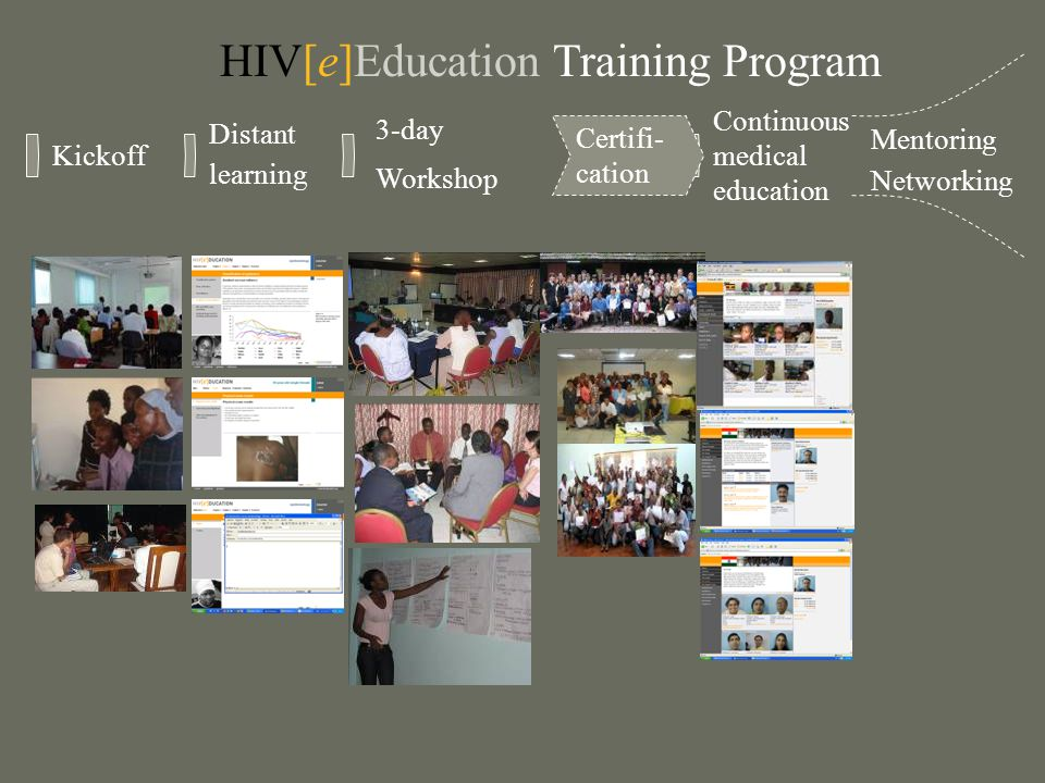 Kickoff Distant learning 3-day Workshop Mentoring Networking Certifi- cation Continuous medical education HIV[e]Education Training Program