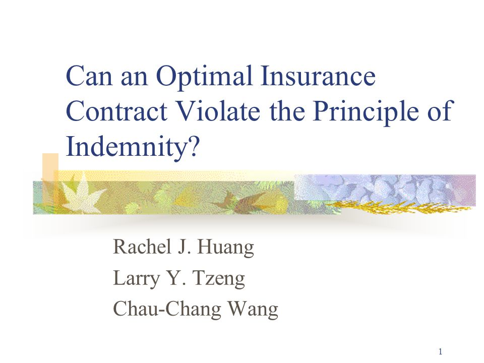 1 Can an Optimal Insurance Contract Violate the Principle of Indemnity.