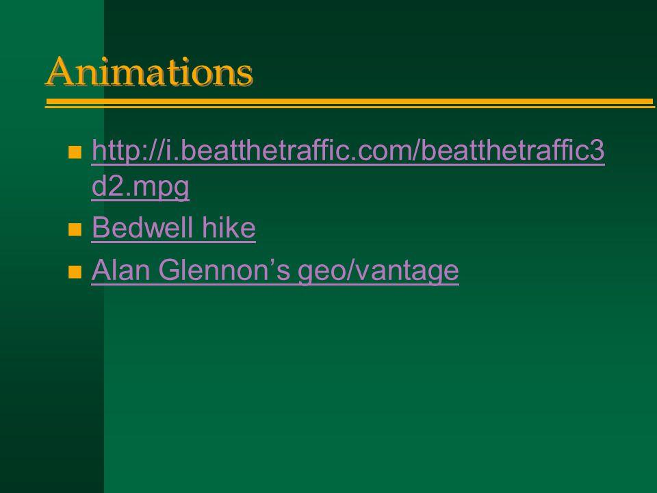 Animations n http://i.beatthetraffic.com/beatthetraffic3 d2.mpg http://i.beatthetraffic.com/beatthetraffic3 d2.mpg n Bedwell hike Bedwell hike n Alan Glennon's geo/vantage Alan Glennon's geo/vantage