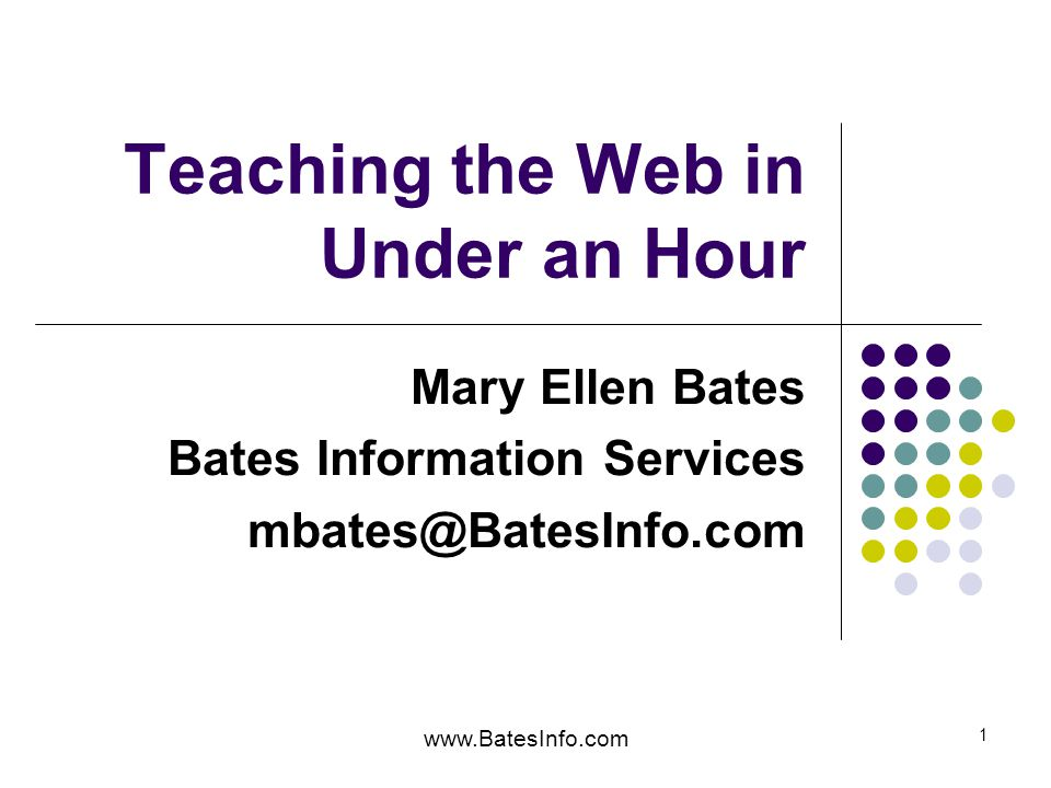 www.BatesInfo.com 2 What We'll Cover Start from their assumptions Sample outline and demos Five steps Final thoughts on teaching the web {I won't cover copyright and plagiarism issues}