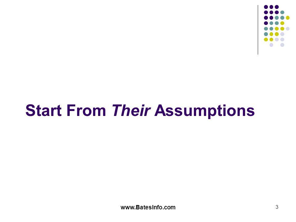www.BatesInfo.com 3 Start From Their Assumptions