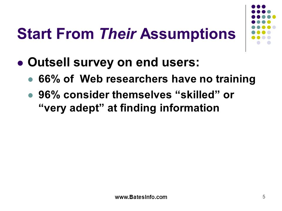 www.BatesInfo.com 5 Start From Their Assumptions Outsell survey on end users: 66% of Web researchers have no training 96% consider themselves skilled or very adept at finding information