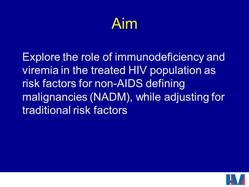 Aim Explore the role of immunodeficiency and viremia in the treated HIV population as risk factors for non-AIDS defining malignancies (NADM), while adjusting for traditional risk factors