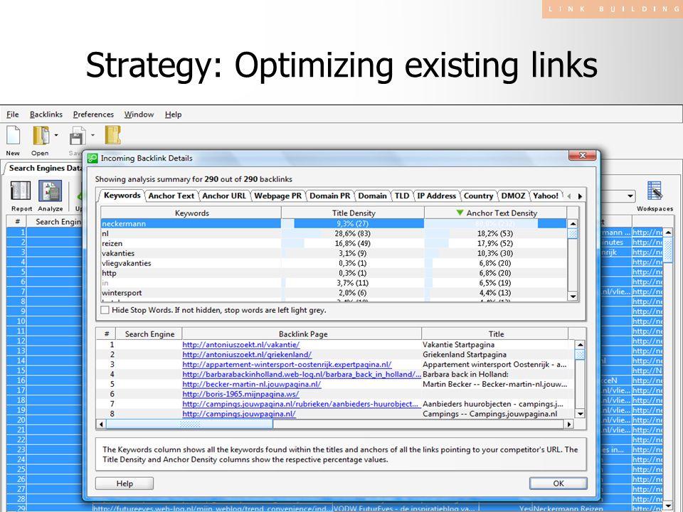 Strategy: Optimizing existing links