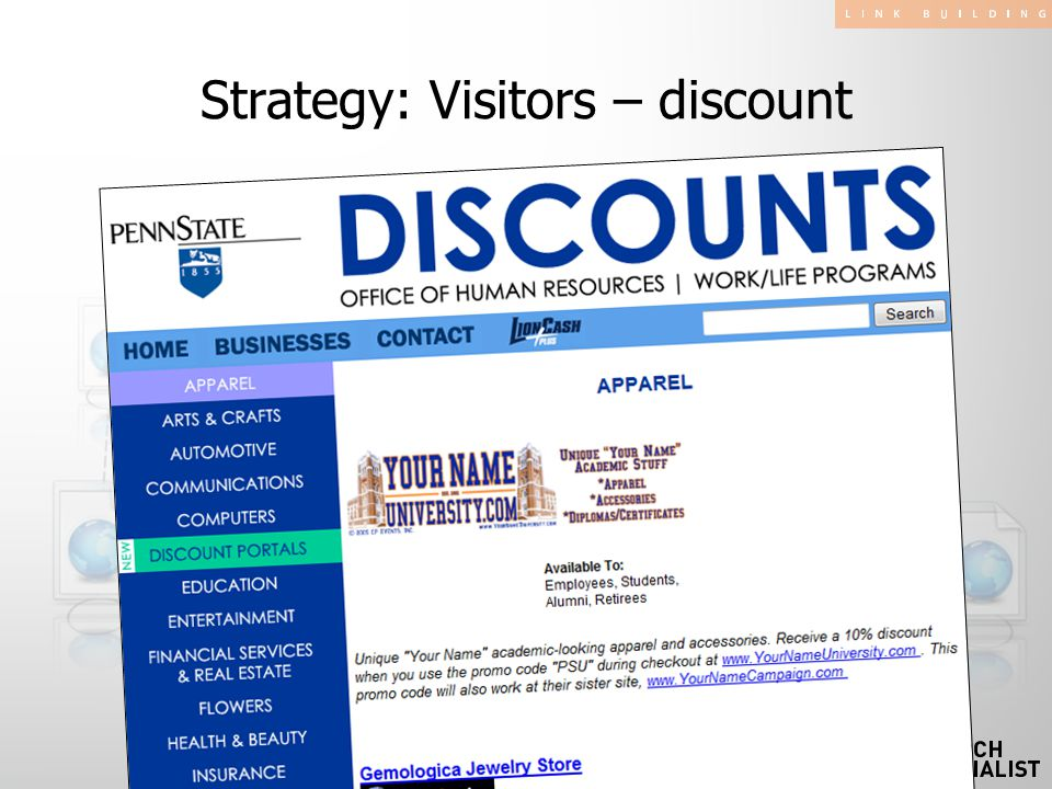 Strategy: Visitors – discount