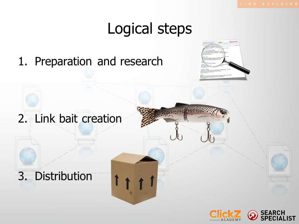 1.Preparation and research 2.Link bait creation 3.Distribution Logical steps