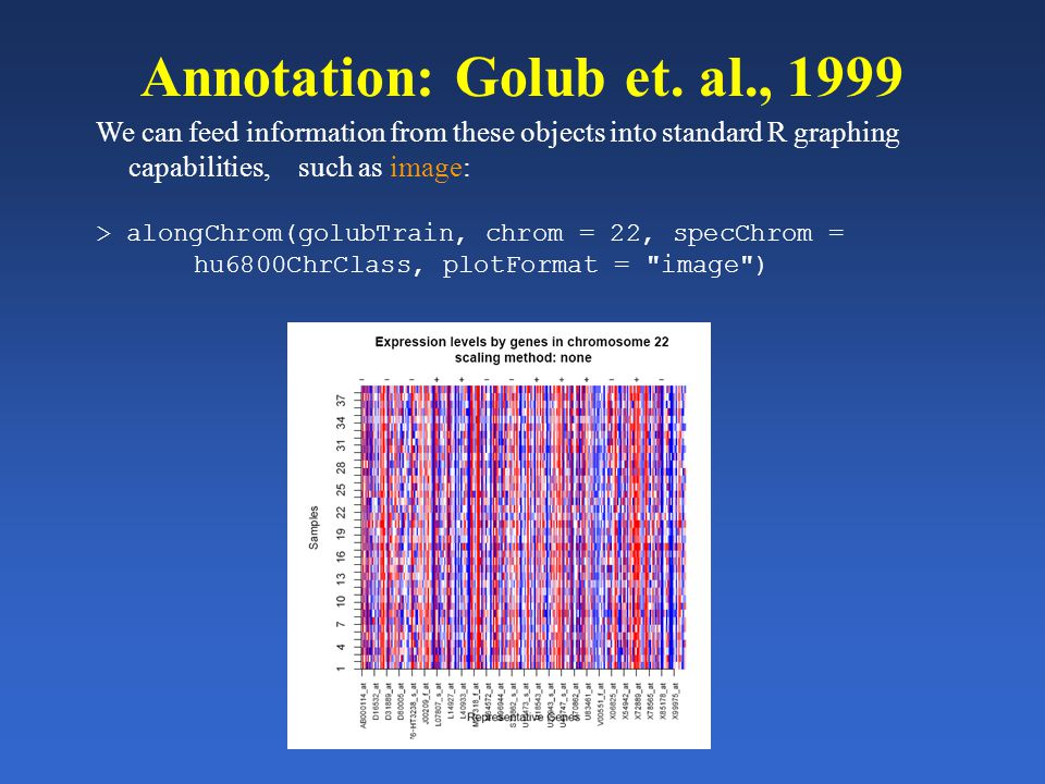 Annotation: Golub et. al., 1999 We can feed information from these objects into standard R graphing capabilities, such as image: > alongChrom(golubTra