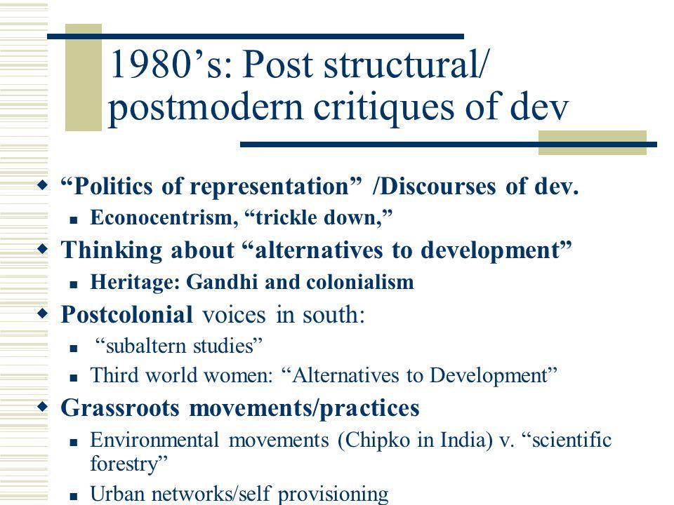1980's: Post structural/ postmodern critiques of dev  Politics of representation /Discourses of dev.
