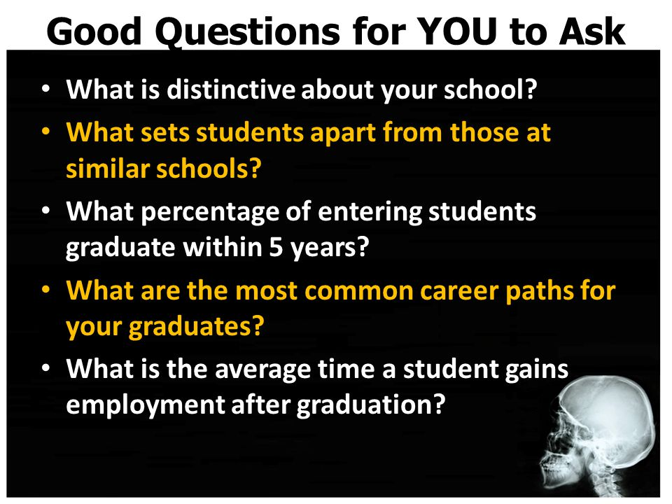 Good Questions for YOU to Ask What is distinctive about your school.