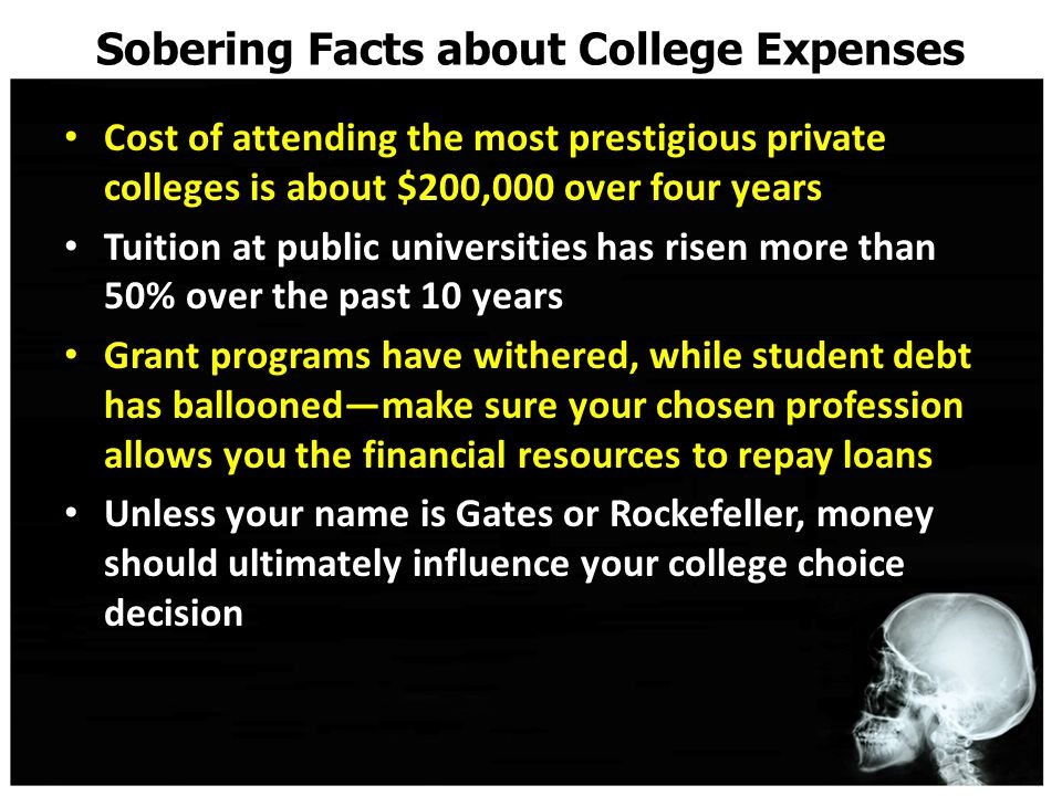 Sobering Facts about College Expenses Cost of attending the most prestigious private colleges is about $200,000 over four years Tuition at public universities has risen more than 50% over the past 10 years Grant programs have withered, while student debt has ballooned—make sure your chosen profession allows you the financial resources to repay loans Unless your name is Gates or Rockefeller, money should ultimately influence your college choice decision