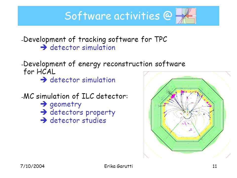 7/10/2004Erika Garutti11 Software activities @ - Development of tracking software for TPC  detector simulation - Development of energy reconstruction software for HCAL  detector simulation - MC simulation of ILC detector:  geometry  detectors property  detector studies
