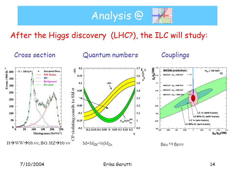 7/10/2004Erika Garutti14 Analysis @ After the Higgs discovery (LHC?), the ILC will study: Cross section Quantum numbers Couplings CP violating conrib.