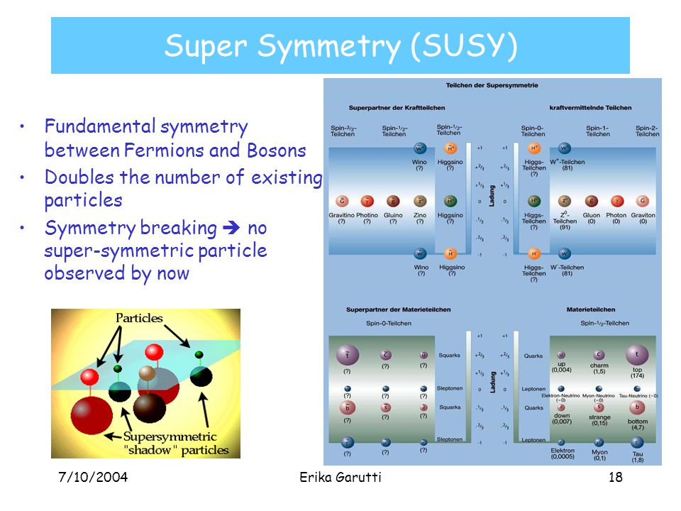 7/10/2004Erika Garutti18 Super Symmetry (SUSY) Fundamental symmetry between Fermions and Bosons Doubles the number of existing particles Symmetry breaking  no super-symmetric particle observed by now