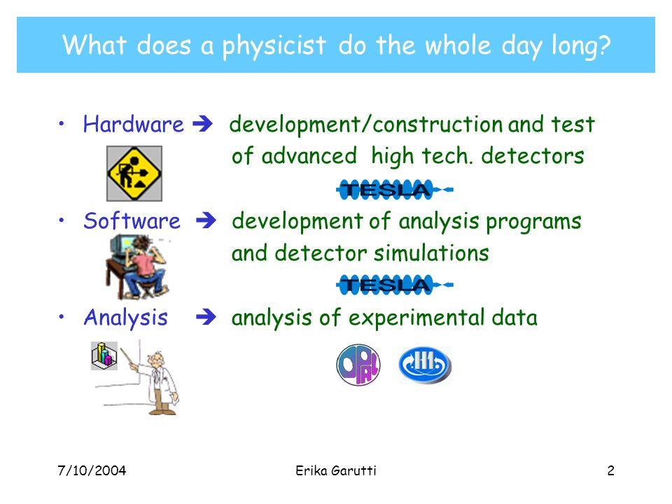 7/10/2004Erika Garutti2 Hardware  development/construction and test of advanced high tech.