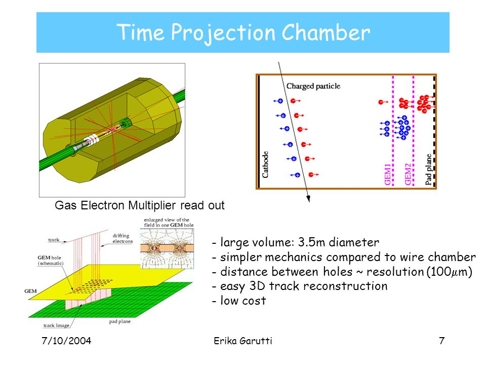 7/10/2004Erika Garutti7 Time Projection Chamber Gas Electron Multiplier read out - large volume: 3.5m diameter - simpler mechanics compared to wire chamber - distance between holes ~ resolution (100  m) - easy 3D track reconstruction - low cost