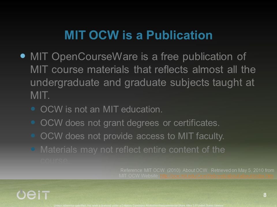 Unless otherwise specified, this work is licensed under a Creative Commons Attribution-Noncommercial-Share Alike 3.0 United States License MIT OCW is a Publication MIT OpenCourseWare is a free publication of MIT course materials that reflects almost all the undergraduate and graduate subjects taught at MIT.