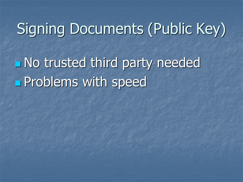 Signing Documents (Private Key) A trusted third party needed A trusted third party needed Disputes dissolved by the trusted third party Disputes dissolved by the trusted third party
