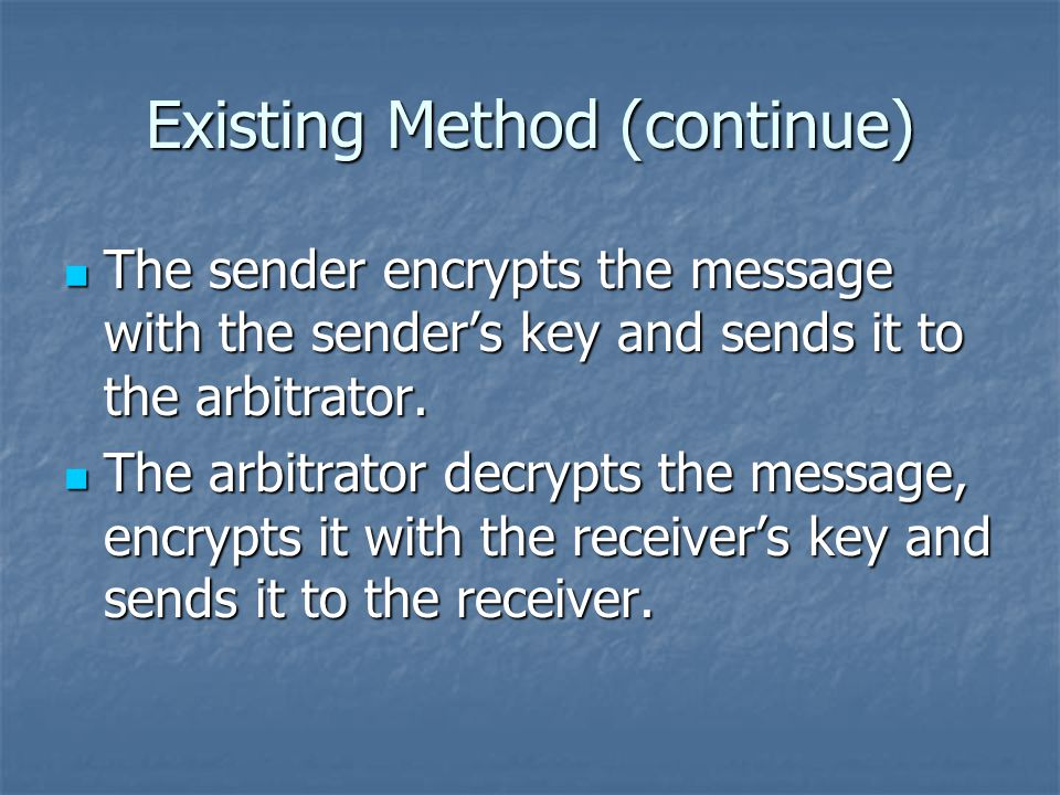Existing Method (continue) The receiver decrypts the message and sends an acknowledgment encrypted with the receiver's key to the arbitrator.