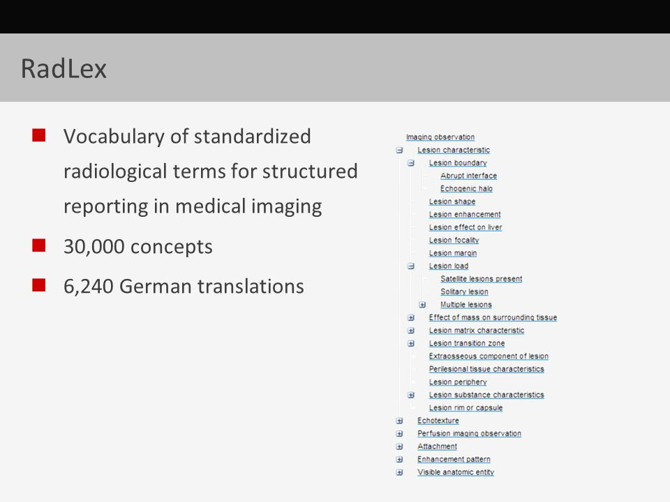 RadLex Vocabulary of standardized radiological terms for structured reporting in medical imaging 30,000 concepts 6,240 German translations