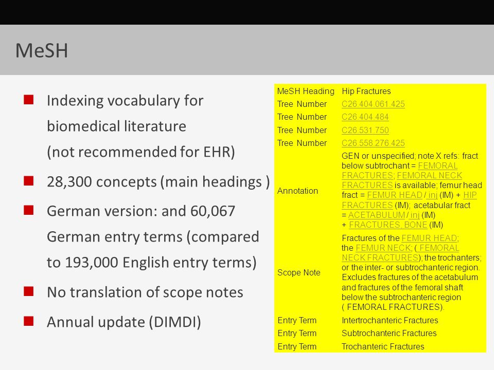 MeSH Indexing vocabulary for biomedical literature (not recommended for EHR) 28,300 concepts (main headings ) German version: and 60,067 German entry