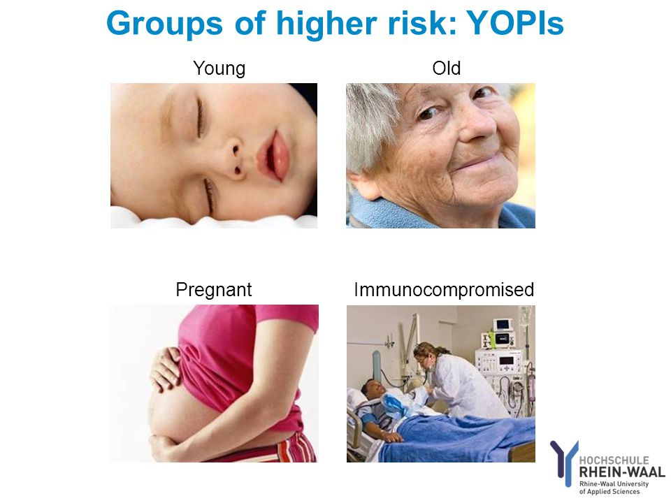 Groups of higher risk: YOPIs YoungOld PregnantImmunocompromised