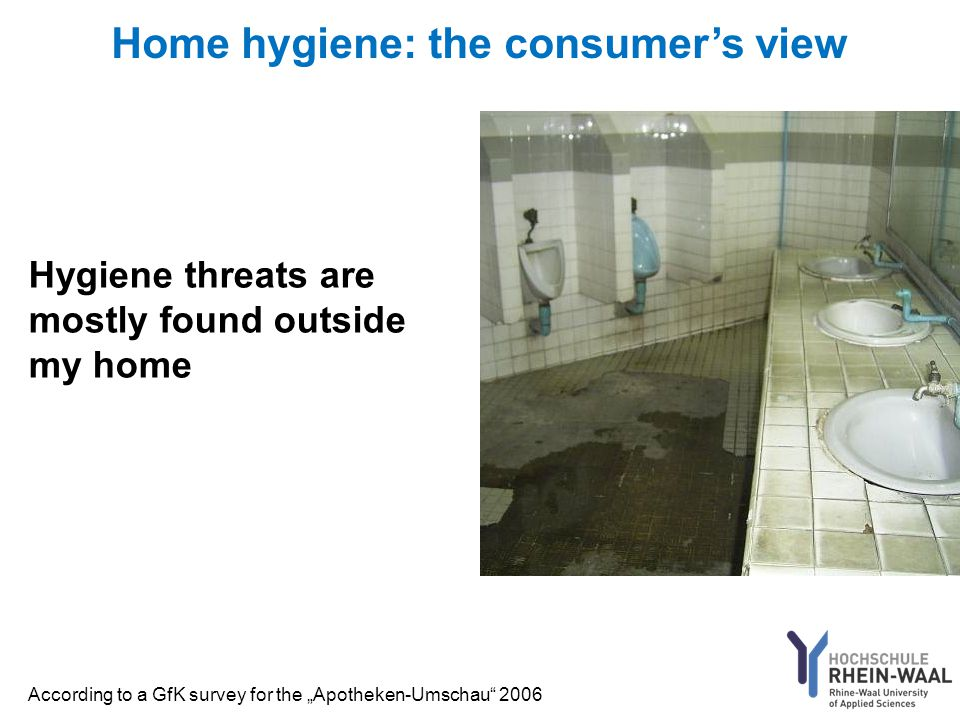 "Home hygiene: the consumer's view Hygiene threats are mostly found outside my home According to a GfK survey for the ""Apotheken-Umschau 2006"