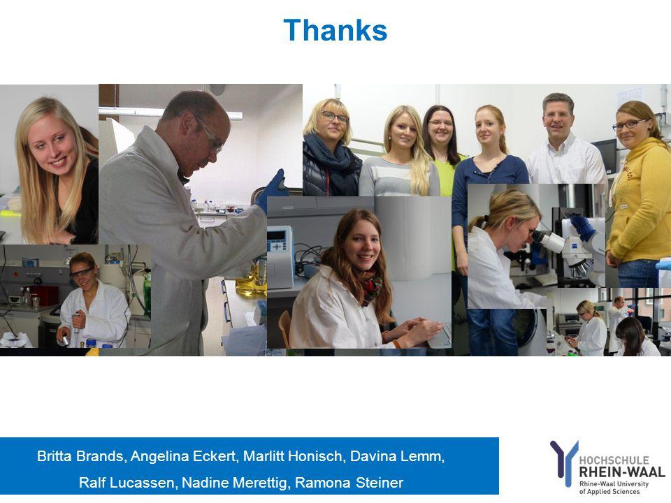 Thanks Britta Brands, Angelina Eckert, Marlitt Honisch, Davina Lemm, Ralf Lucassen, Nadine Merettig, Ramona Steiner