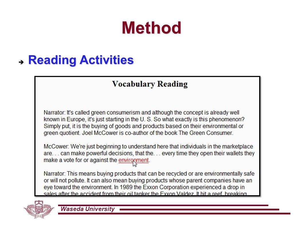 Waseda University Method  Reading Activities