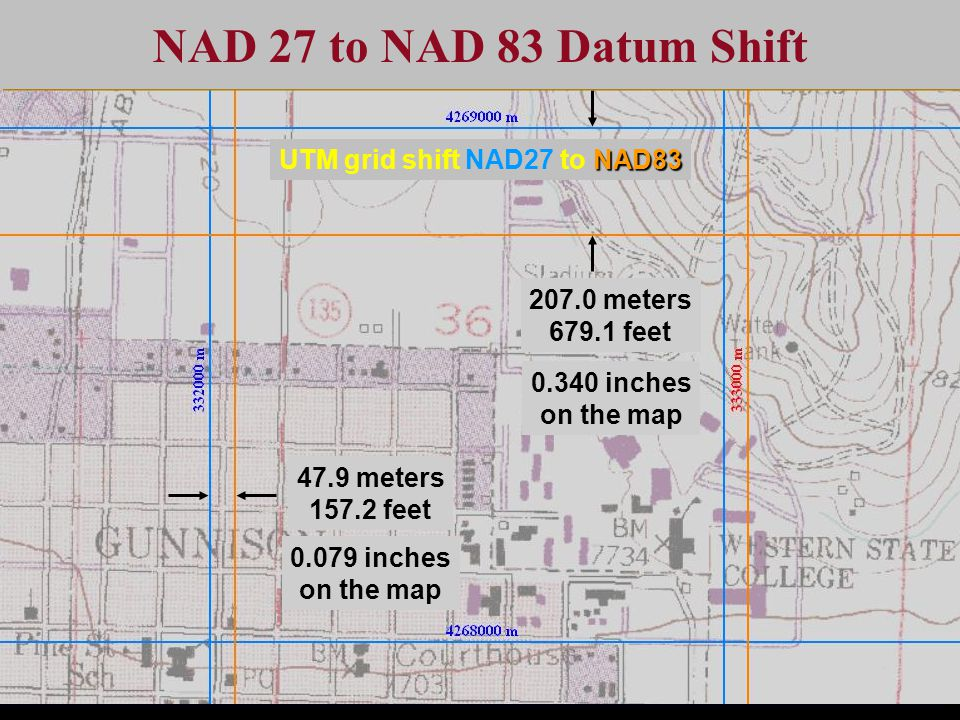 47.9 meters 157.2 feet 0.079 inches on the map 207.0 meters 679.1 feet 0.340 inches on the map NAD 27 to NAD 83 Datum Shift NAD83 UTM grid shift NAD27