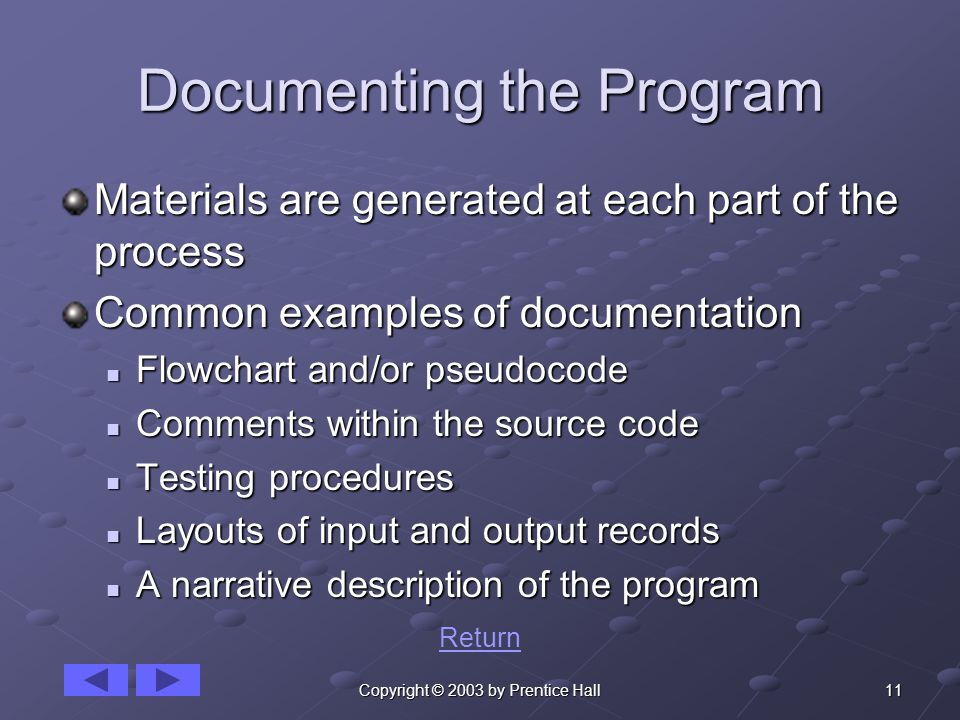 11Copyright © 2003 by Prentice Hall Documenting the Program Materials are generated at each part of the process Common examples of documentation Flowchart and/or pseudocode Flowchart and/or pseudocode Comments within the source code Comments within the source code Testing procedures Testing procedures Layouts of input and output records Layouts of input and output records A narrative description of the program A narrative description of the program Return